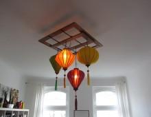 Bunte DIY Lampion Deckenlampe mit Holzrahmen