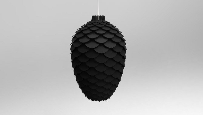 Pinecone Design Deckenlampe in Schwarz (Rendering)