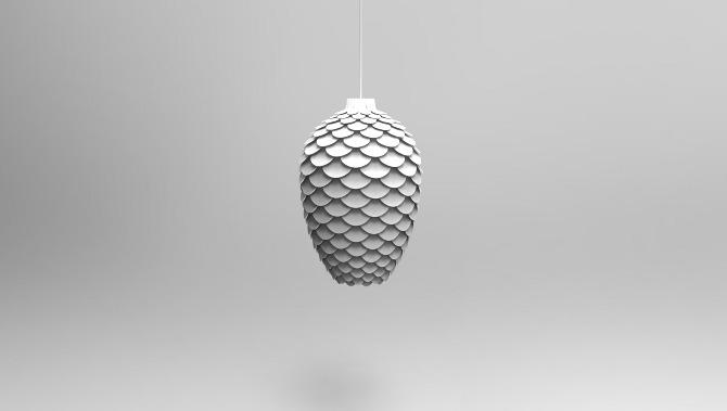 Pinecone Design Deckenlampe in Weiß (Rendering)